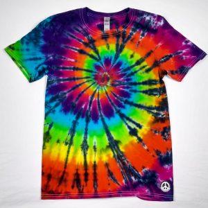 black and tie dye spiral t-shirt